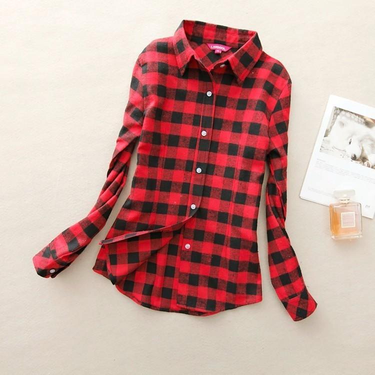 2017 hot sprzedaż jesień zima panie kobieta casual cotton lapel bluzka bluzki z długim rękawem kratę koszula kobiet szczupła odzieży wierzchniej clothing 7
