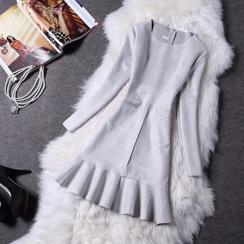 O-Neck Long Sleeve Suede Mini Dress 5