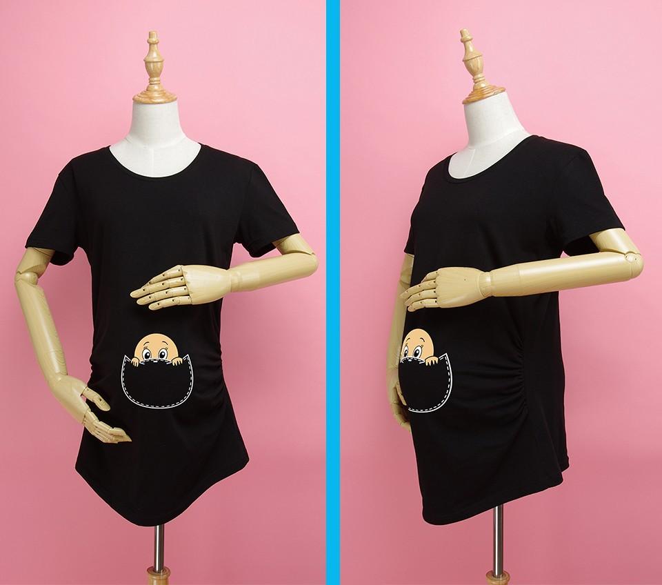 """""""Kieszonkowy dziecko siusiu boo"""" drukuj koszula ciążowa gravida top ciąży odzież tanie Tees Casual plus rozmiar XXL Darmowa wysyłka 8"""