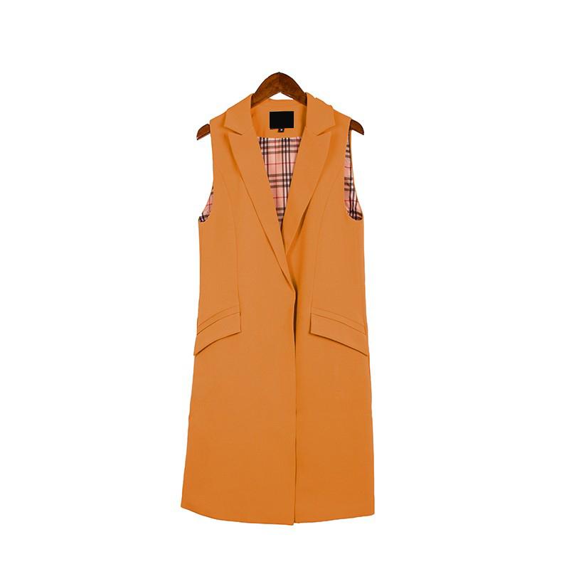2017 wiosna nowy mody długie kieszenie turn-dół collar otwórz stitch pantone niebieski różowy beżowy czarny żakiet kamizelka bez rękawów kurtki 27