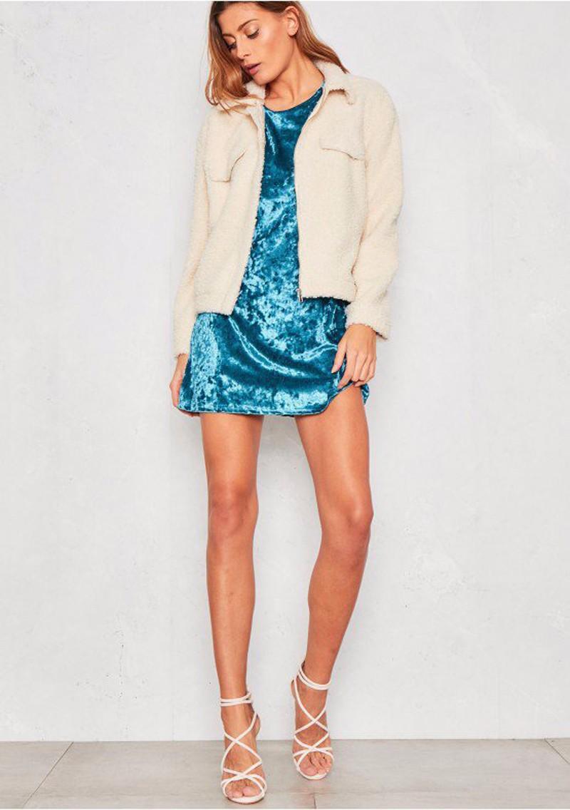 Short Sleeve Velvet Short Casual Dress 7