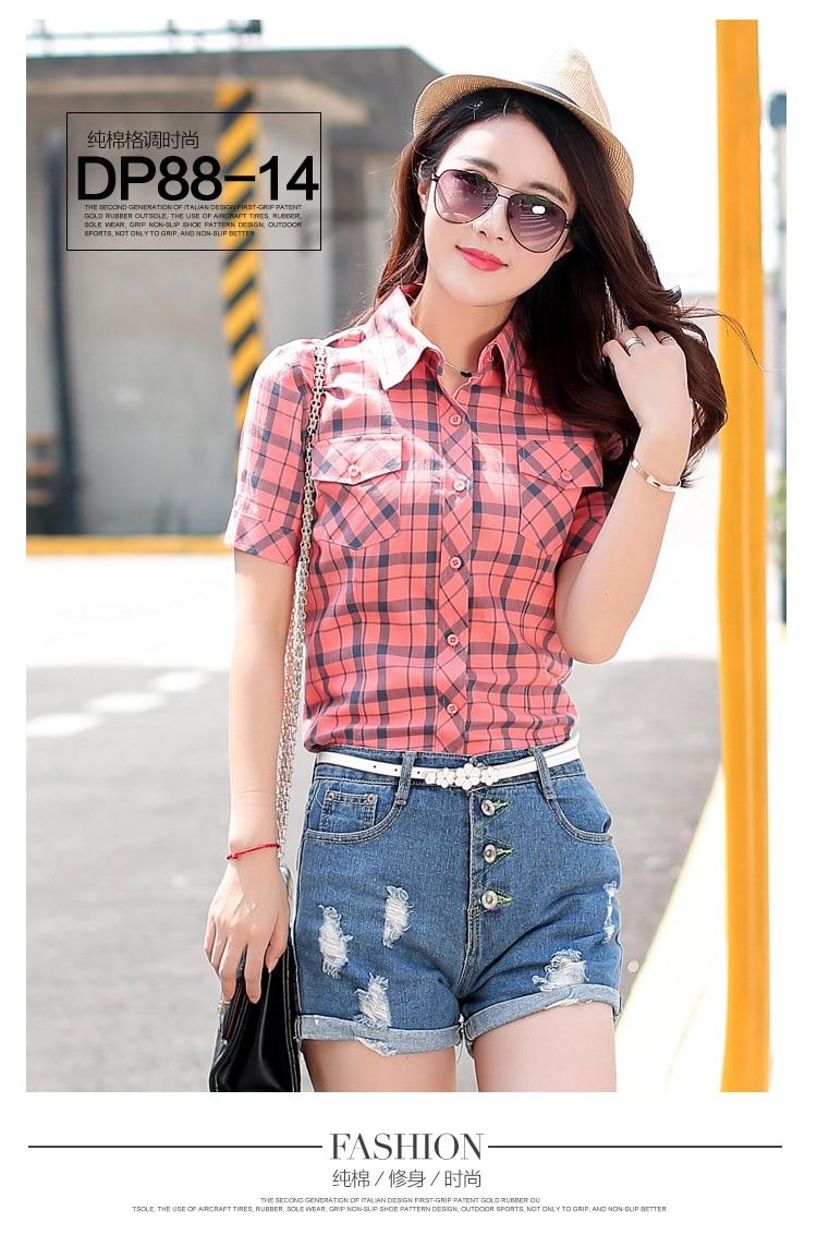 Brand New 2017 Lato Styl Plaid Drukuj Krótki Rękaw Koszule kobiety Plus Rozmiar Bluzki Na Co Dzień 100% Bawełna Topy Blusas 14 kolory 43
