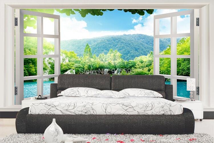 Niestandardowe 3d wodospady las zobacz okno 3d art mural mural tapety salon sypialnia przedpokój pokój dziecięcy fototapety 9