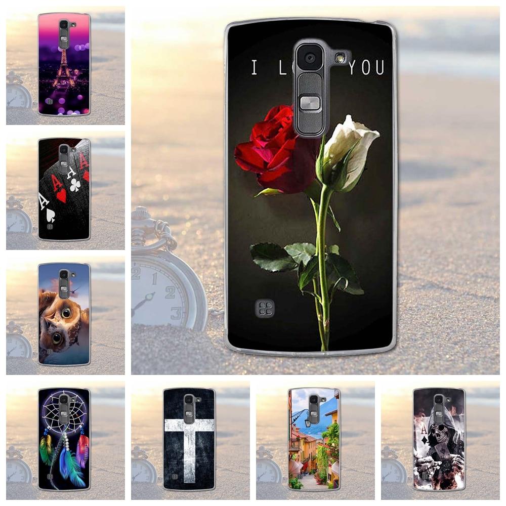Fundas telefon case pokrywa dla lg spirit 4g lte h440y h422 h440n h420 miękka tpu kwiaty zwierzęta dekoracje telefon pokrywa dla lg duch 2