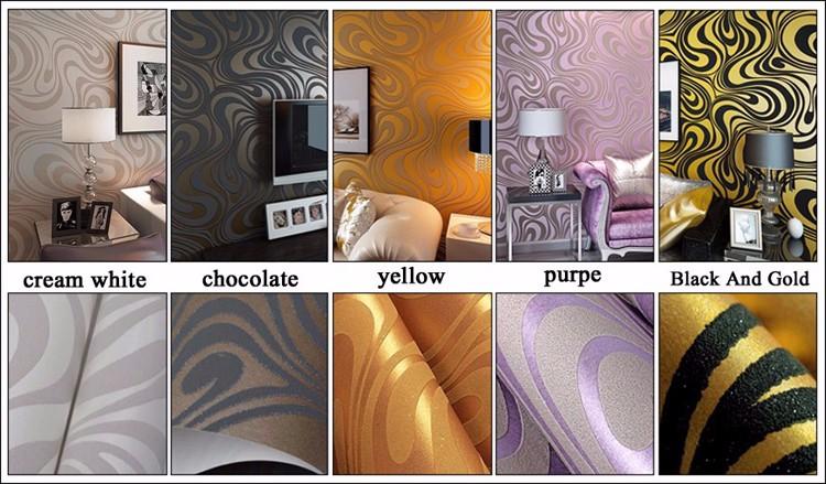 Wysokiej jakości 0.7 m * 8.4 m nowoczesny luksus 3d tapety rolki mural papel de parede uciekają na paski ściany papier 5 kolor r136 4