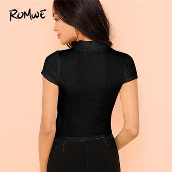 8f0de4f2 Rib Knit Crop T-Shirt 2019 Black Spring Slim Fit Short Sleeve Crop ...
