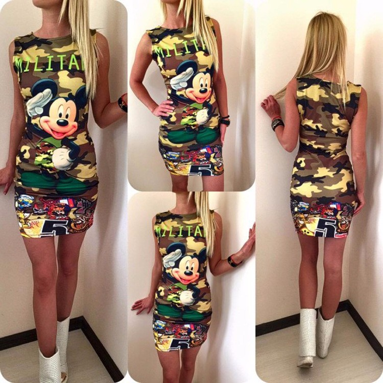 2017 kobiety moda lato bez rękawów bodycon wojskowy kamuflaż cartoon mouse list drukuj sexy mini dress vestido curto cortos 3