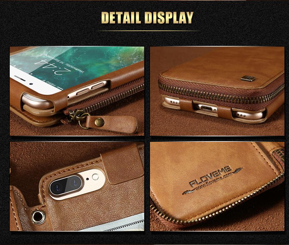 Floveme vintage wallet case dla iphone 6 6 s 7 plus skórzanej oprawie zipper torebka posiadacza karty retro przypadki telefonów dla iphone 6 6 s 7 8