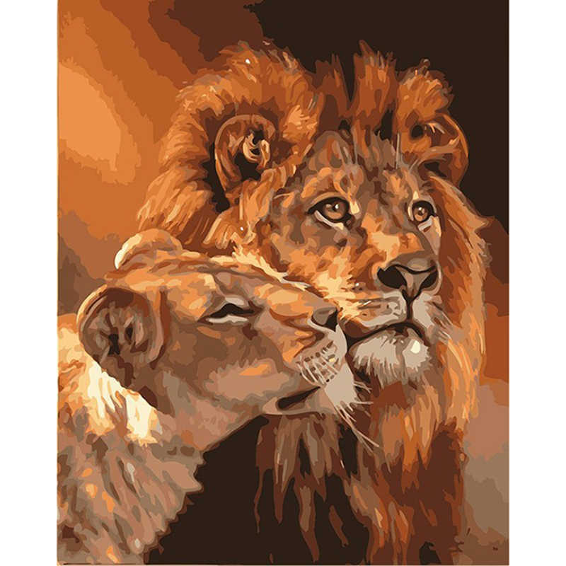Frameless The Lion Animal DIY Painting By Numbers Kits Coloring Oil Painting On Canvas Drawing Home Artwork Wall Art Picture