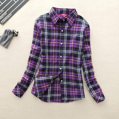 2017 hot sprzedaż jesień zima panie kobieta casual cotton lapel bluzka bluzki z długim rękawem kratę koszula kobiet szczupła odzieży wierzchniej clothing 31