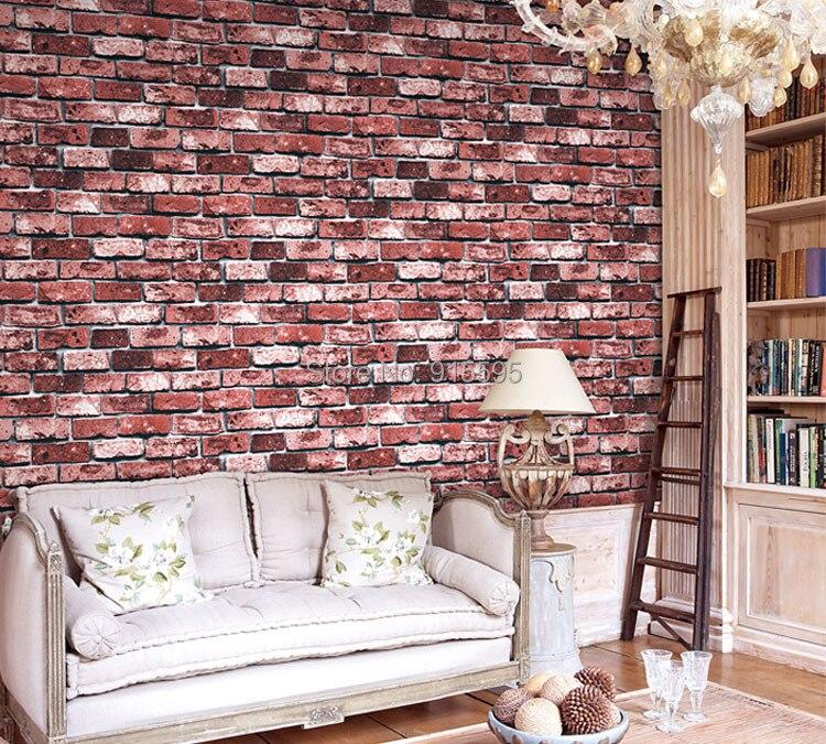 Nowoczesne vintage cegły kamienia pokoju tapety mural 3d winylu wodoodporna tłoczone tapety rolka papel de parede home decor 10 m 16
