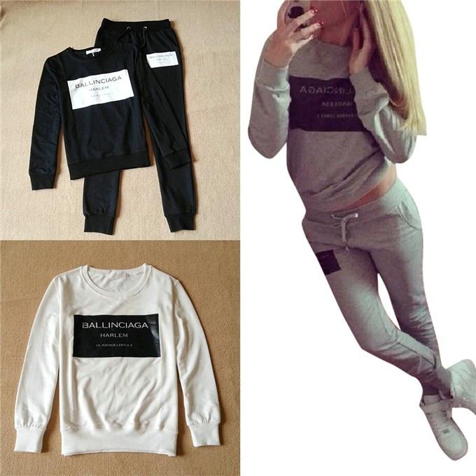2 Sztuk Zestaw Kobiety Chusta Bluza + Spodnie Dresowe Spodnie Dorywczo Sportwear Garnitur Potu 1
