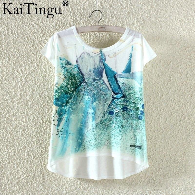 Kaitingu kawaii śliczne t koszula moda lato harajuku wysoki niski styl cat print t-shirt z krótkim rękawem t shirt kobiet topy plus size 12