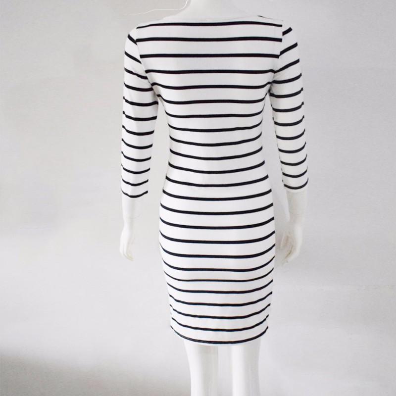 2016 Nowa Wiosna Lato Kobiety Wokół Szyi Mody Czarno-białe Paski Z Długim Rękawem Prosto Plus Rozmiar Casual Dress 14