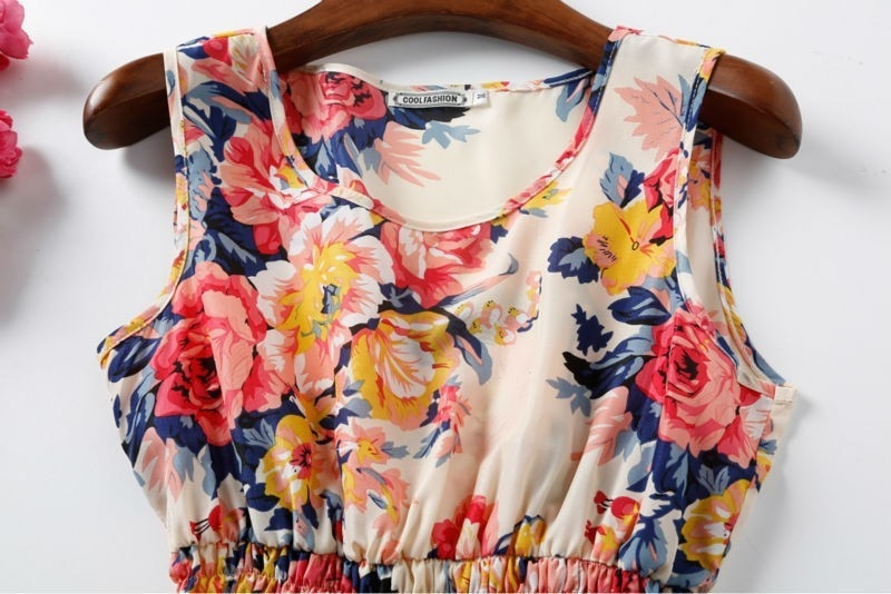 Sexy kobiety chiffon dress sundress plaża floral bez rękawów tank mini sukienki vestido 27