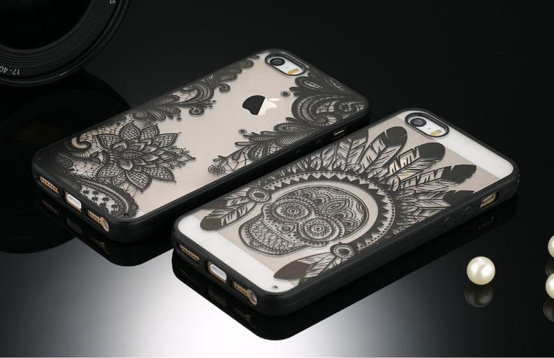 Sexy retro floral phone case dla apple iphone 7 6 6 s 5 5S SE Plus Koronki Kwiat Dysk PC + TPU Przypadki Back Cover Capa Dla iPhone7Plus 4