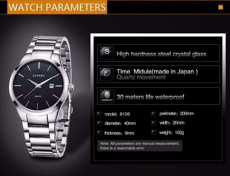 Curren 2016 Najlepsze Marki Biznesmenów Mężczyzna Luksusowy Zegarek Na Co Dzień Pełne stali Kalendarz zegarki Na Rękę zegarki kwarcowe relógio masculino 4