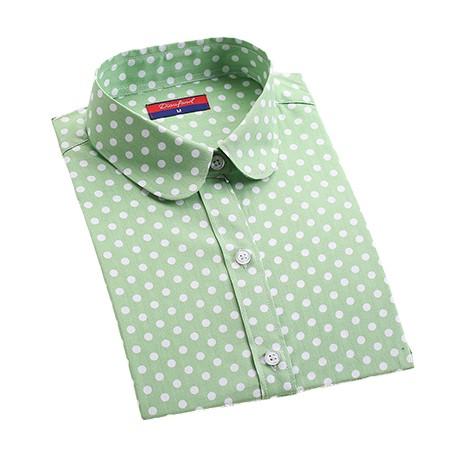 2016 Plus Size Polka Dot Bawełna Kobiety Bluzki Koszule Długie rękaw Kobiety Koszule Turn Down Collar Bawełna Dorywczo Koszula Kobiet topy 10