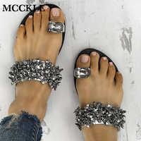 02a2e87636 MCCKLE Mulheres Casuais de Verão Plana Chinelos Flip Flops Feminino Cristal  Fora Sapatos Meninas