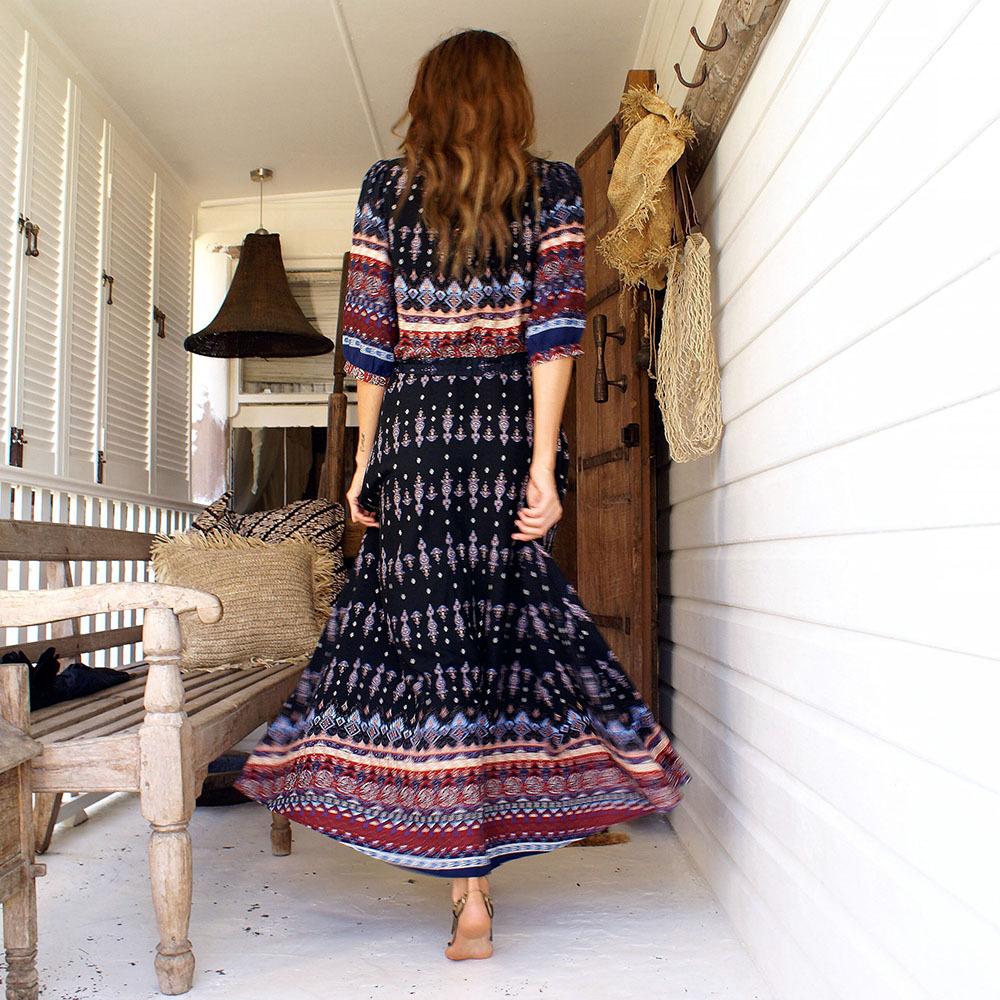 Floral Print Chic Boho Maxi Long Dress 13
