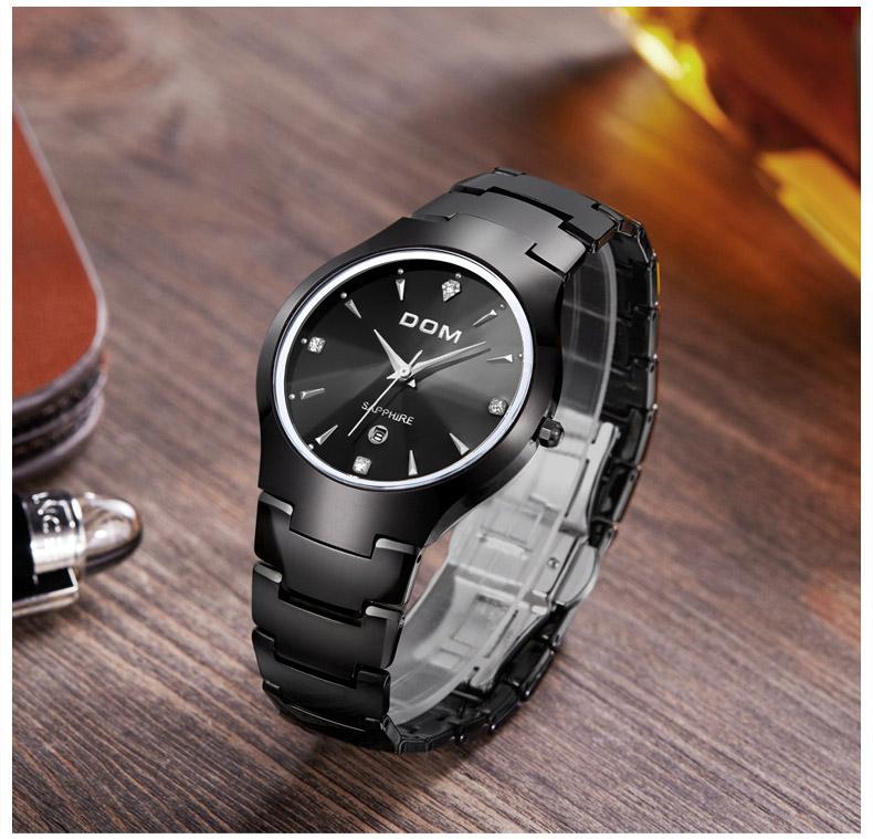 Hk dom luksusowe top marka męska zegarek wolframu stal wrist watch wodoodporna biznesu kwarcowy zegarek fashion casual sport watch 8