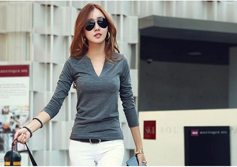 2017 stałe 14 kolory Dekolt Bluzki Sexy Szczupła Dzianiny Długi rękaw chemise femme koreański bluzki dla kobiet koszula clothing góry bluzka 10