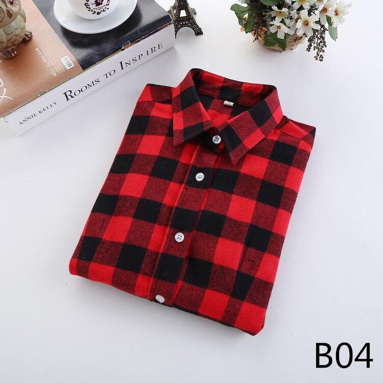 2016 Moda Plaid Shirt Kobiet College style damskie Bluzki Z Długim Rękawem Koszula Flanelowa Plus Rozmiar Bawełna Blusas Biuro topy 8