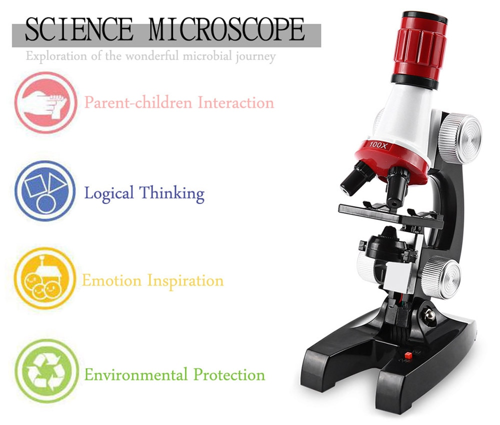Microscope Kit Lab 100X-10X Home School Educational Toy Gift For Kids Boys High Presision Biological Microscope