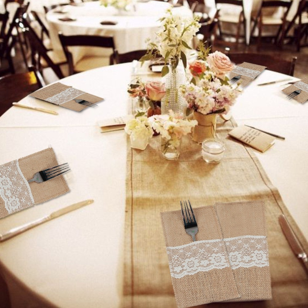 10pcs fork knife holder pocket 4 x8 vintage jute burlap lace chic tableware pouch for wedding. Black Bedroom Furniture Sets. Home Design Ideas