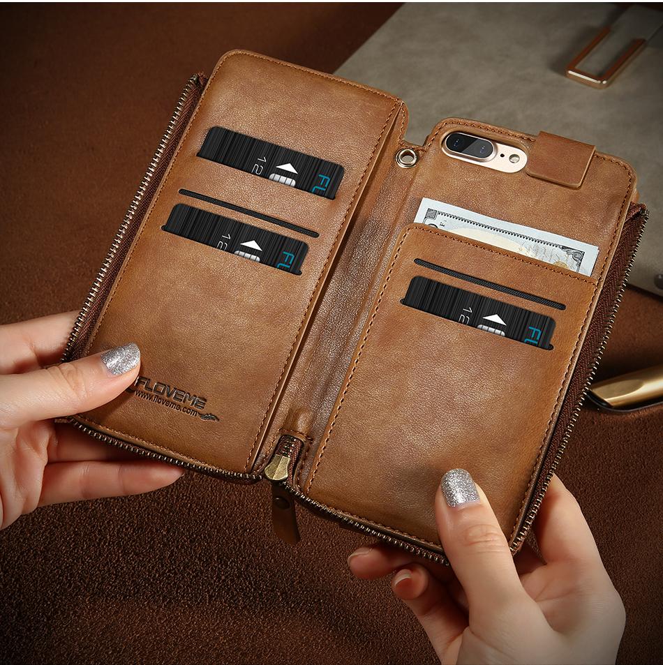 Floveme vintage wallet case dla iphone 6 6 s 7 plus skórzanej oprawie zipper torebka posiadacza karty retro przypadki telefonów dla iphone 6 6 s 7 10