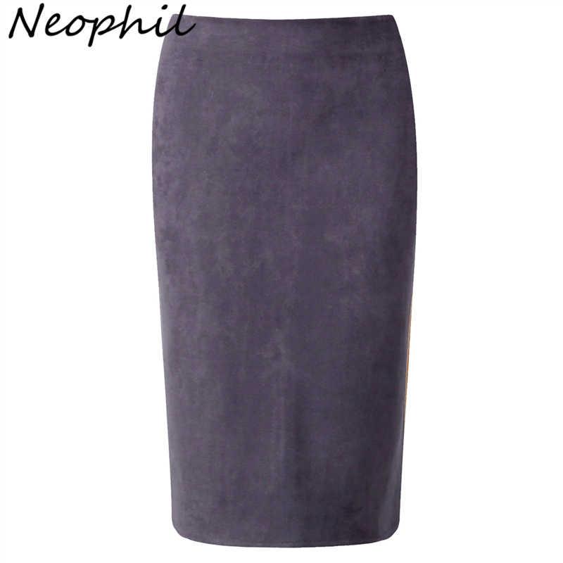 bbe527804 Neophil 2019 Winter Women Suede Midi Pencil Skirt High Waist Gray Pink XXL  Sexy Style Stretch