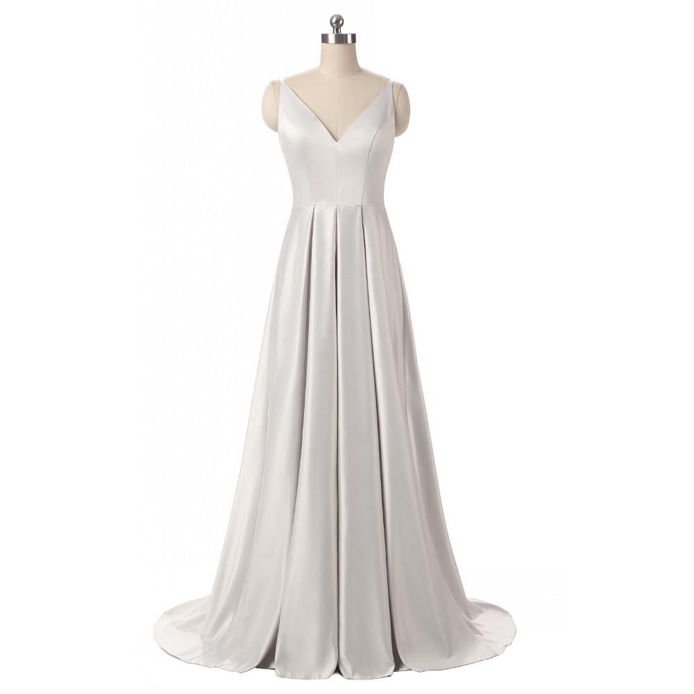Elegant V-Neck Pleat Satin Long Evening Dress 3