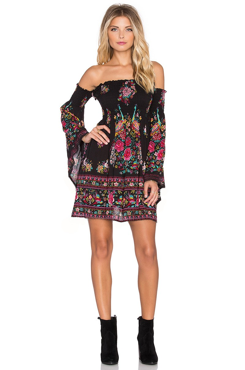 Flare Sleeve Off Shoulder Strapless Boho Dress 1