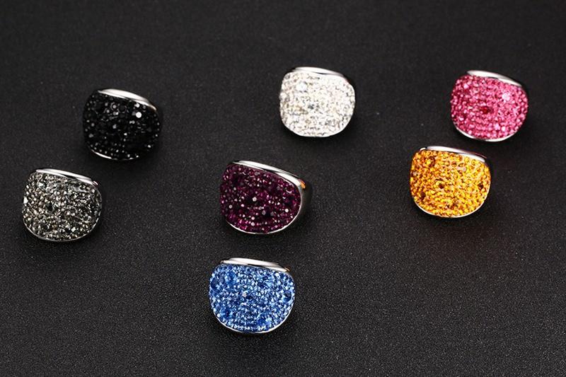 Crystal Rhinestone Stainless Steel Wedding Rings For Women 3