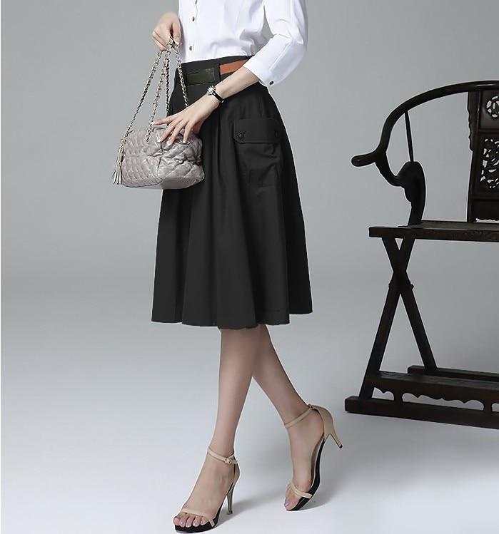 A-line Pockets Khaki and Black Button Midi Skirt 7