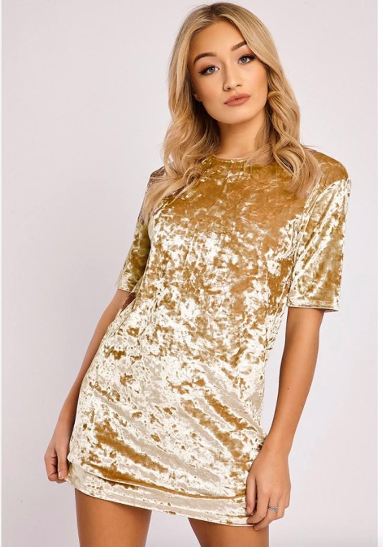 Short Sleeve Velvet Short Casual Dress 15