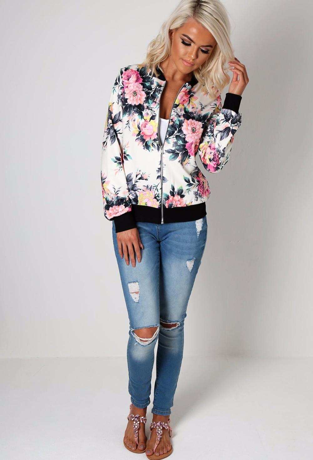 Kwiat Drukuj Kobiety Podstawowe Płaszcze Długim Rękawem Zipper Bomber Jacket Casual Kurtka Płaszcz Jesień Zima Streetwear sukajan 7