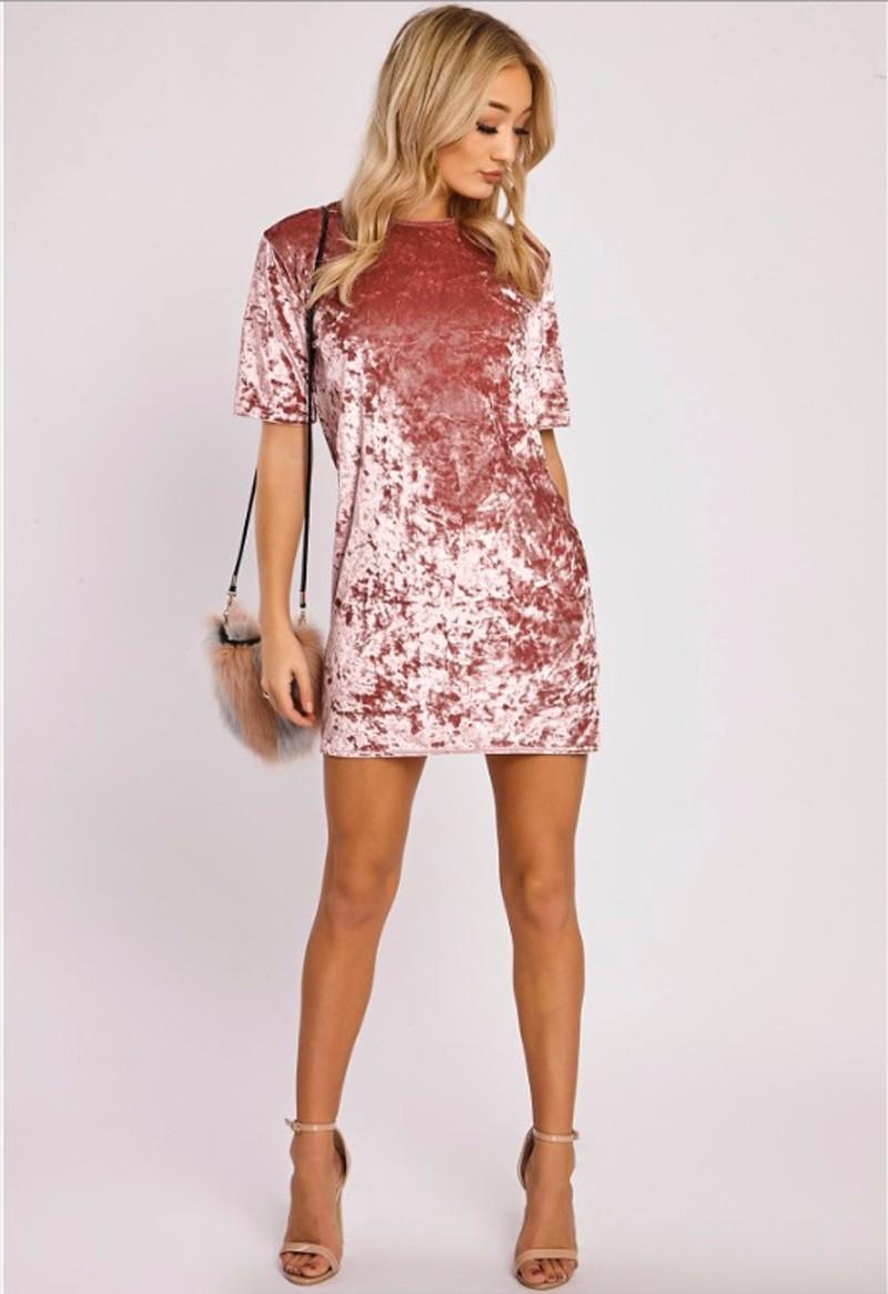 Short Sleeve Velvet Short Casual Dress 1