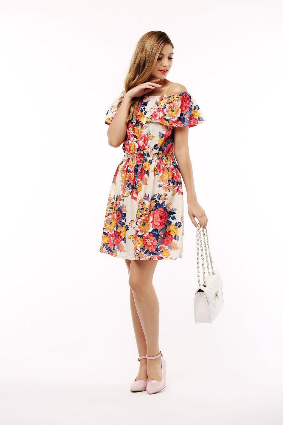 2017 fashion nowa wiosna lato plus size odzież kobiet floral print wzór sukienki na co dzień vestidos wc0472 8