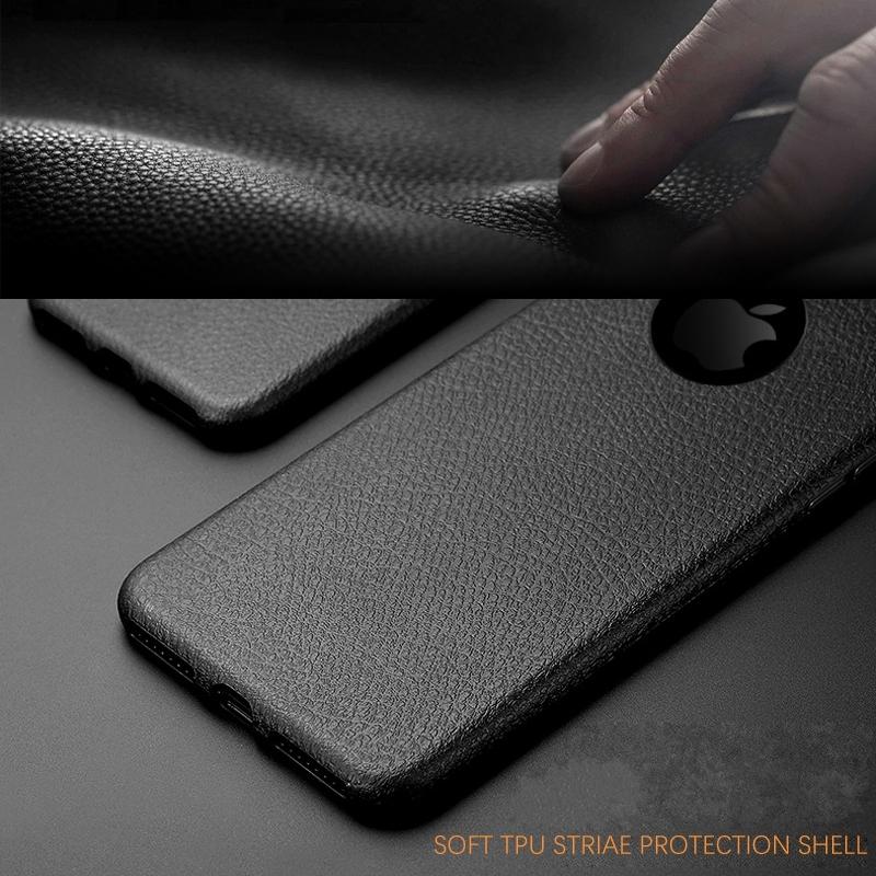 Dla iphone 7 plus iphone 7 case silicon ultracienkich tpu miękka skóra wzór case dla iphone 6 6s plus logo hole back cover czarny 6