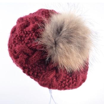 805466680 New Winter women hat Berets knit wool pompom beret ladies flat