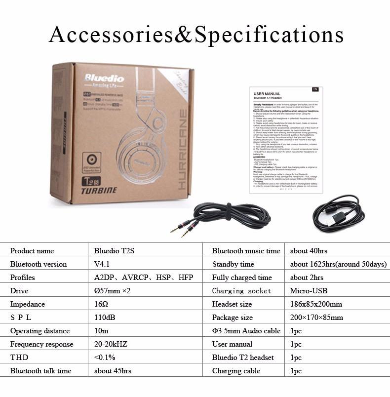 Bluedio t2s (brake fotografowania) słuchawki stereofoniczne słuchawki bezprzewodowe bluetooth 4.1 zestaw słuchawkowy bluetooth nad słuchawek dousznych 11