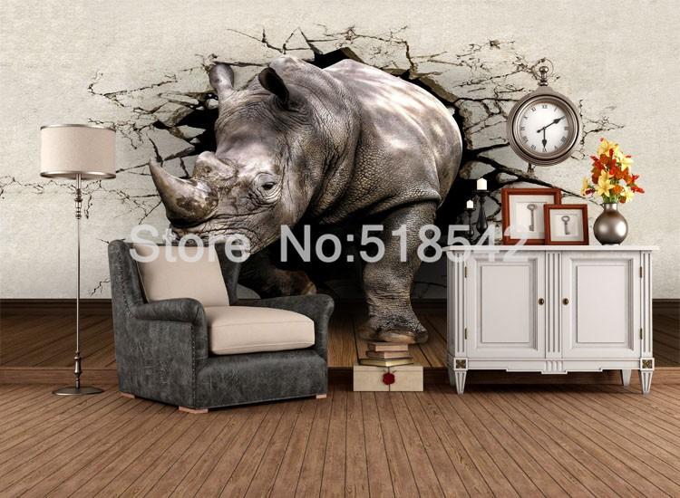 Dostosowane fototapety 3d realistyczne mural nosorożec zwierząt lew słonie włókniny sypialnia mural home decor tapety ścienne 3d 8