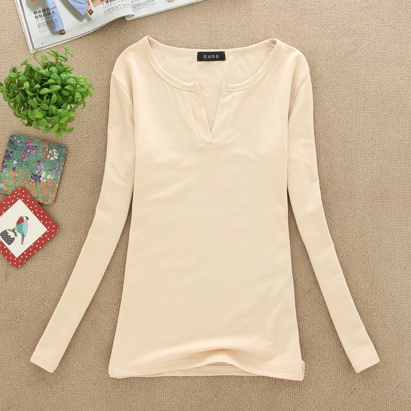 2017 stałe 14 kolory Dekolt Bluzki Sexy Szczupła Dzianiny Długi rękaw chemise femme koreański bluzki dla kobiet koszula clothing góry bluzka 25