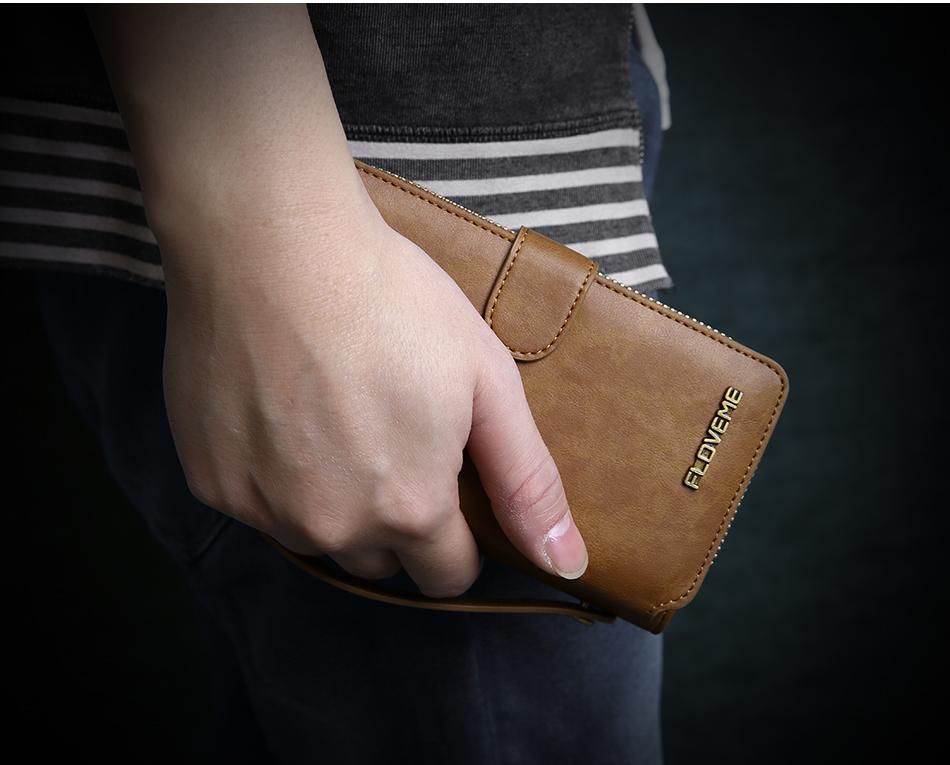 Floveme vintage leather wallet phone case for iphone 7 7 plus 6 6 s plus retro torebka slot kart pokrywa dla samsung s7 s8 coque 17