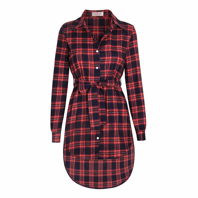 2017 dress kobiety nieregularne plaid shirt sukienki sexy długim rękawem turn down collar urząd casual dress lj5932c 7