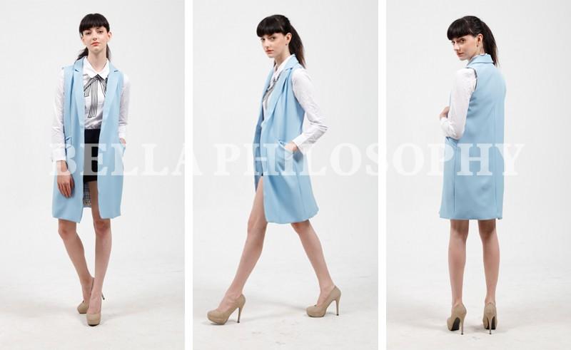 2017 wiosna nowy mody długie kieszenie turn-dół collar otwórz stitch pantone niebieski różowy beżowy czarny żakiet kamizelka bez rękawów kurtki 12