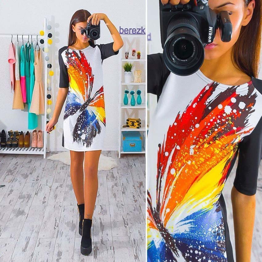 2017 kobiety dress vintage wydrukowano połowa rękawem slim sukienek vestidos panie mini luźne summer dress 2