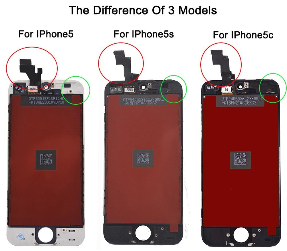 Czarny gwarancja 100% aaa wymiana wyświetlacza dla iphone 5 iphone 5c iphone 5s lcd z ekranem dotykowym digitizer pełna zgromadzenia 1