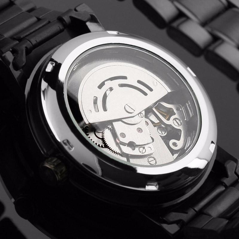 2016 Nowy Czarny męska Skeleton Antyczne Steampunk Casual Automatyczne Skeleton Mechaniczny Zegarek Ze stali Nierdzewnej Zegarki Męskie 5
